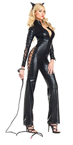 [Be Wicked Womens Two Faced Kitty Adults Sexy Catsuit Fancy Halloween Costume, S/M (4-8)] (Two Faced Halloween Costumes)