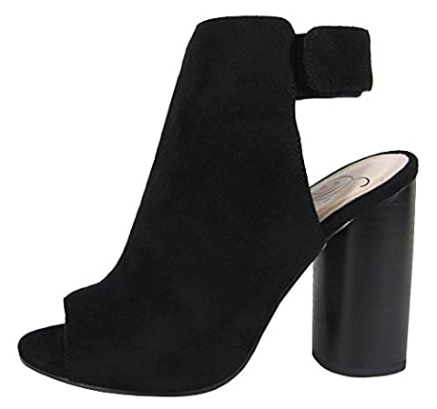Delicious Women's Peep Toe Velcro Sling Back Round Stacked Heel Ankle Bootie (7.5 B(M) US, Black - Retro Peep Toe