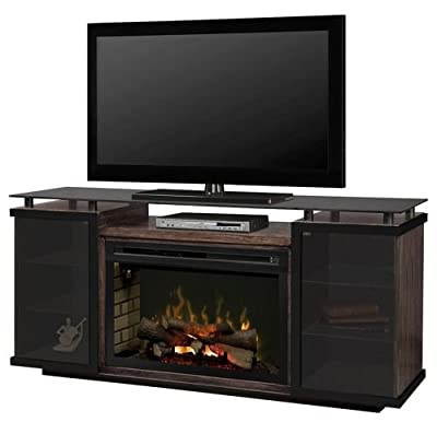 Dimplex Aiden Electric Fireplace TV Stand with Logset in Peppercorn