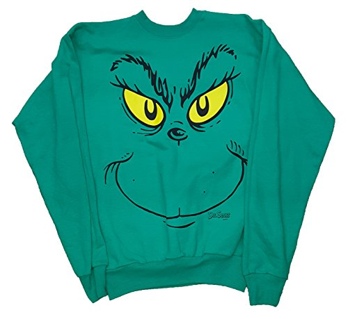 How the Grinch Stole Christmas Grinch Face Sweatshirt - X-Large (Grinch Sweaters)