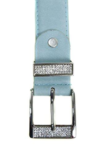 ICE (2513-4) imitación de cuero Cinturón Azul con hebilla de plata Rhinestone