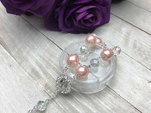 12 Pcs Rosary Bracelet with Cross Baptism Party Favors Wedding Favors, Quinceanera Favors (Pink - Silver) (Pink Rosary For Party Favor)