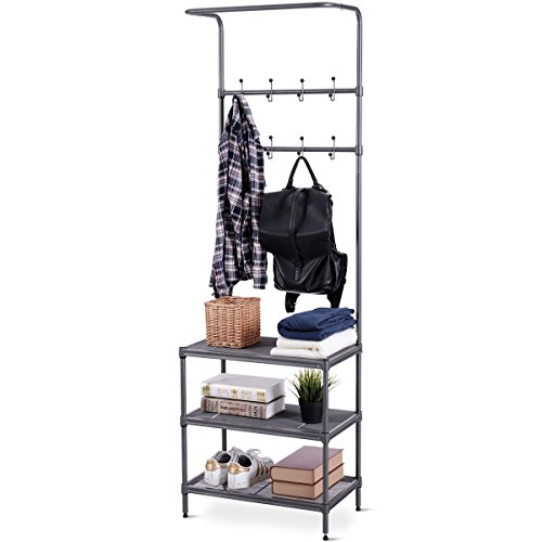 - Giantex 3 Tier Entryway Coat Hat Shoes Rack Metal Storage Shelf Bedroom Living Room Office Storage Rack w/ 16 Hooks Adjustable Feet 2-in 1 Design, Easy Assembly