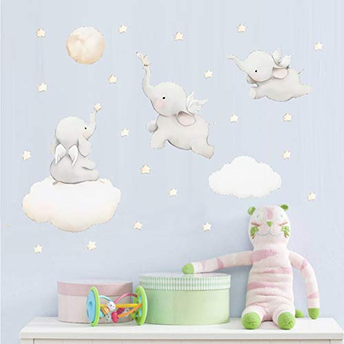 OFISSON Flying Elephants with Clouds Moon and Stars Wall Sticker Peel and Stick Decal, Baby Room Wall Decor, Sticker for Children Baby Kids Boy Girl Bedroom Nursery Decor