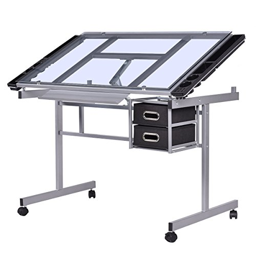 Tangkula Adjustable Drawing Desk Rolling Drafting Table Tempered Glass Top Art Craft