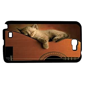 Kitten Sleeping on Acoustic Guitar Hard Snap on Phone Case (Note 2 II)