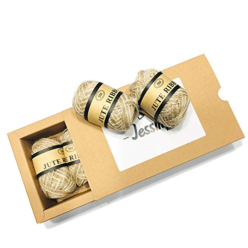 (Slim Jute Cord Ribbon Roll for Crafters Gifts Wrapping Decorations DIY Crafts Arts, Brown and White, 1/4Inch-21Yards, 4 Rolls)