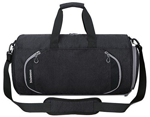 Gym Sports Small Duffel Bag for Men and Women with Shoes Compartment - Mouteenoo (Small, Black-S)