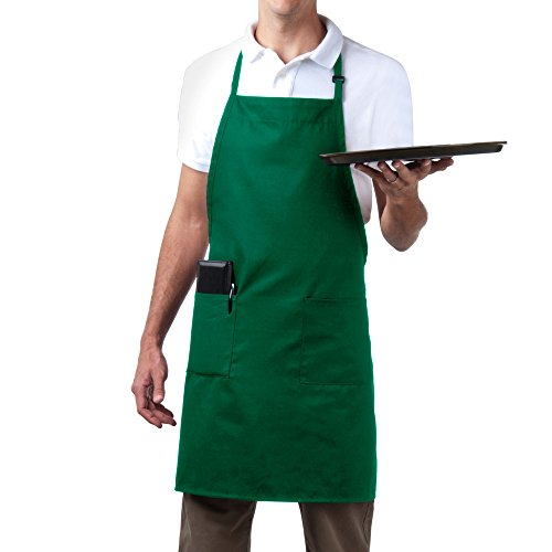 Bib Aprons-MHF Aprons-1 Piece-new Spun Poly-Commercial Restaurant Kitchen- Adjustable-Full length-3 Pockets (Green)