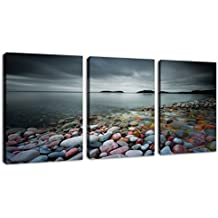 "Canvas Wall Art Lake Beach Colorful Stones Cloudy Sky - 12"" x 16"" x 3 Piece Canvas Art Lakeside Sunset Modern Artwork Contemporary Nature Pictures Framed Ready to Hang for Office Home Decoration"