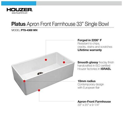 Farmhouse Kitchen Houzer PTG-4300 WH Apron-Front Fireclay Single Bowl Kitchen Sink, 33″, White farmhouse kitchen sinks