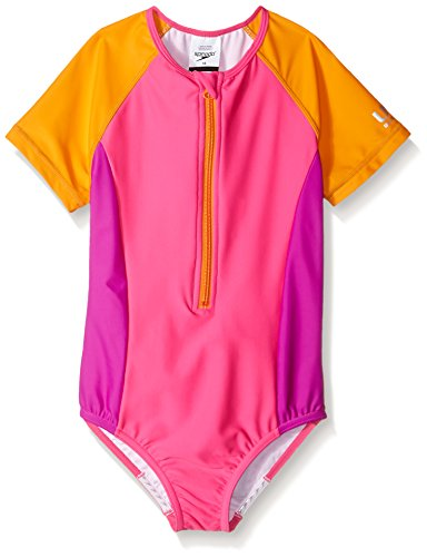 Speedo Girls Short Sleeve Swimming Onesie, Pink, Size 8