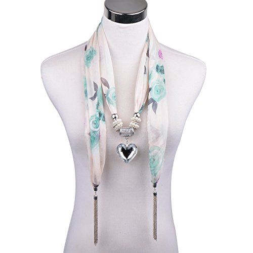 D EXCEED Women's Mint Green Chiffon Floral Blend Print Scarves Crystal Heart Pendant Scarf Necklace (Mint Green)