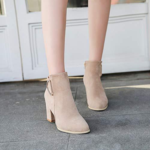 ... Stiefel Boots Ankle High Beige Leder Heel Damen Schuhe Blockabsatz  Reißverschluss Plateau Square Martin Schwarz Boots ... 7e2fd2ffb2