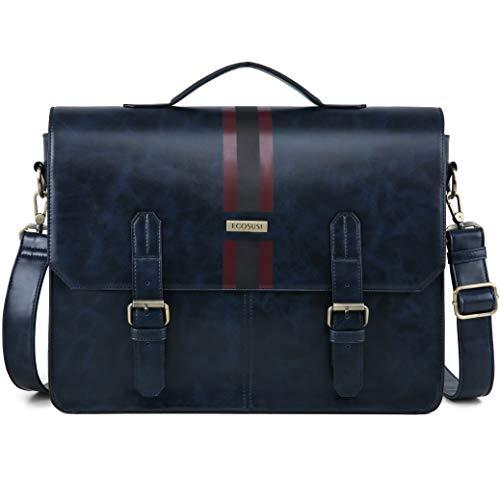 ECOSUSI Men's Briefcase PU Leather Shoulder Satchel Computer Bag with Back Pocket fits 15.6 inch Laptop, Blue