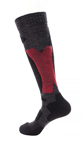 Wantdo Men's Warm Outdoor Sports Winter Knee High Cushioned Performance Thermal Ski Socks Dark (Gray Ski)