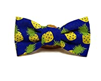 Pineapple Express - Bright Blue Yellow Pineapples Summer Vintage Hand-crafted Bow Tie for a Dog or Cat Collar - Bowtie only - Handmade in the USA