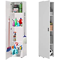 HABITMOBEL Mueble Multiusos Acabado Blanco, Alto 190cm Patas Regulables con…