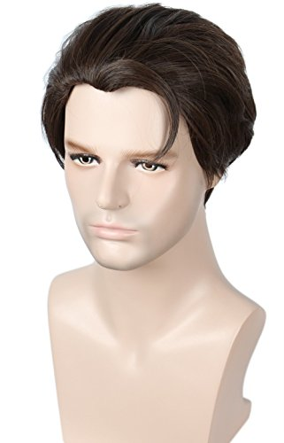 Linfairy Short Straight Cosplay Wig Halloween Costume Wig (Nature brown)
