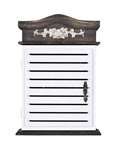 Wooden Key Holder Box 6 Hooks Wall Mounted Handmade with Rustic Finish Home (Six Hook Key Case)