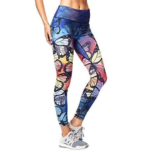 Matymats Women's Tummy Control Printed Yoga Pants Quick-Drying Workout Leggings Non See-Through