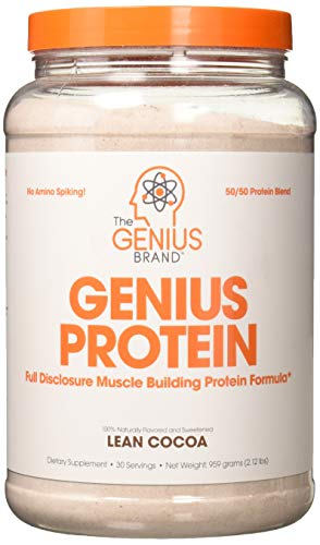 Genius Protein Powder - Natural Whey Protein Isolate & Micellar Casein Lean Muscle Building Blend, Grass Fed Post Workout Strength Builder for Weight Loss and Strength Gains, Lean Cocoa, 2 LB (Best Whey Protein For Lean Muscle)