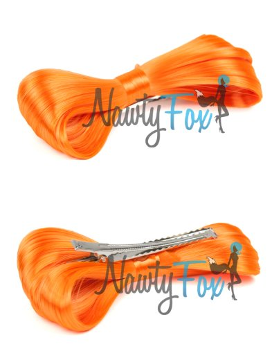 NawtyFox New Orange Lady Gaga Hair Bow Wig Hair Clip