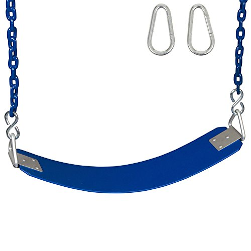 Swing Set Stuff Inc. Commercial Rubber Belt Seat with 5Coated Chain & SSS Logo Sticker Commercial Rubber Seat Coated Chain, Blue -