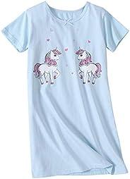 AOSKERA Girls' Unicorn Nightgowns Mermaid Sleepwear Kitten Nightdress Cotton 3-14 Y