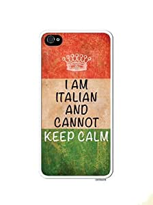 Italian Flag Cannot Keep Calm Distressed Look Apple Iphone 4 Quality TPU Soft Rubber Case for Iphone 4/4s - AT&T Sprint Verizon - White Case by lolosakes