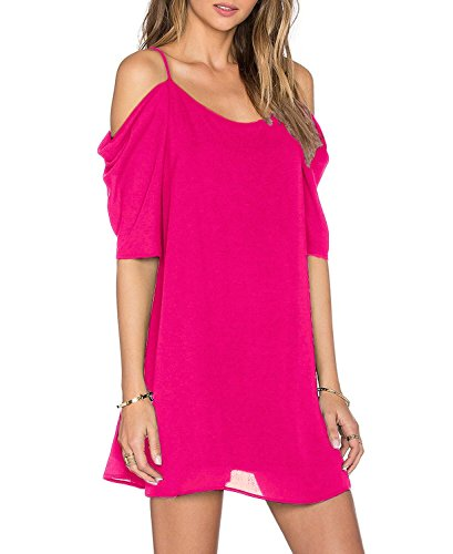 Unbranded* Women's Chiffon Jersey Cut Out Cold Shoulder Trumpet Sleeve Spaghetti Strap Dress Top Hot Pink Large A-line Spaghetti Straps Mini