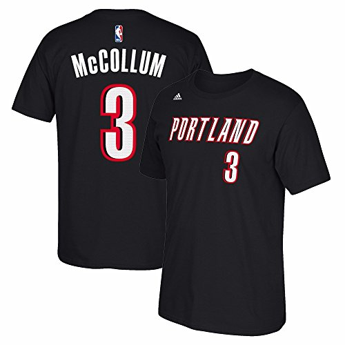 C.J McCollum Portland Trail Blazers NBA Adidas Men Black Official Player Name & Number Jersey T-Shirt (M)