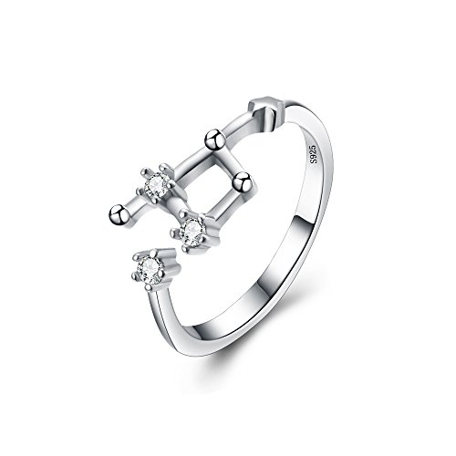 BriLove Women 925 Sterling Silver CZ Statement Ring -''Cancer'' Horoscope Zodiac 12 Constellation Astrology Adjustable Ring by BriLove