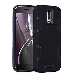 Armor Moto G4 Case, Moto G4 Plus Case - Asstar [Shockproof] [Impact Protection] Heavy Duty Combo Hybrid Defender Protective Rugged Case Cover for Motorola Moto G4 / G4 Plus (Black)