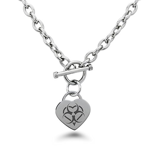 Tioneer Stainless Steel Biohazard Love Heart Symbols Heart Charm, Necklace Only -