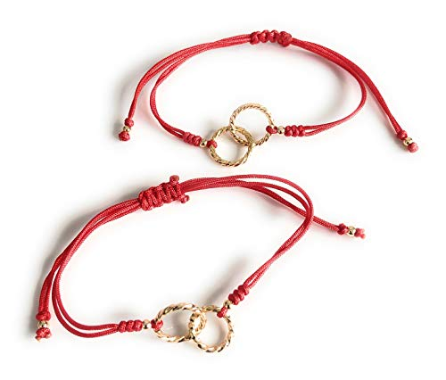 (Endless Love Mother and Daughter Matching Bracelets - Set of 2 Red)