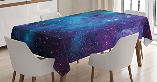 Space Decorations Tablecloth by Ambesonne, Galaxy Stars in Space Celestial Astronomic Planets in the Universe Milky Way Print, Rectangular Table Cover for Dining Room Kitchen, 60x84 Inch, Navy Purple (Celestial Table)
