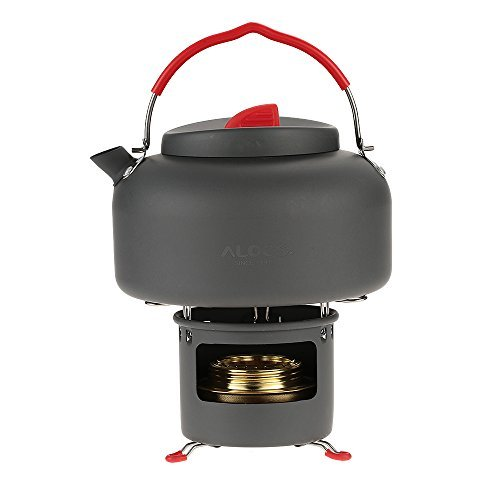 Docooler Lightweight Outdoor Kettle Teapot Camping Cookware Water Boiler Pot 1.4L Alcohol Stove Heater And Support Bracket Portable