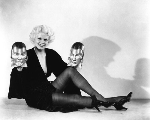 Platinum Blonde Jean Harlow in stockings holding face busts 11x14 Promotional Photogr ()