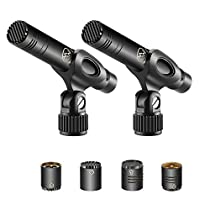 Neewer 2-Pack Pencil Stick Condenser Microphone with Interchangeable Omni, Cardioid and Super Cardioid Capsules, Foam Windscreens, Mic Clip and Portable Carrying Case for Acoustic Woodwind Instruments