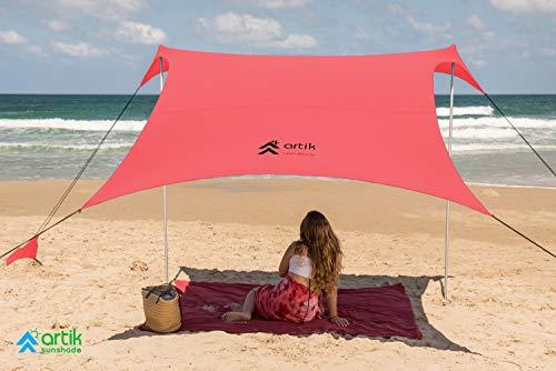 Pop Up Beach Tent Sun Shade for Camping Trips, Fishing, Backyard Fun or Picnics – Portable Canopy with Sandbag Anchors, Two Aluminum Poles & Carrying Bag - UPF50 UV Protection (Lambert, Medium)
