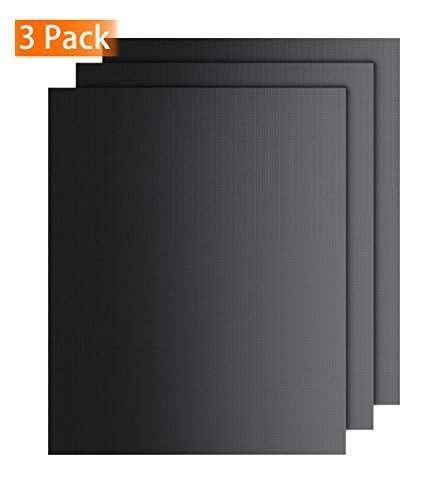 FINNKARE Grill Mat Dishwasher Safe Grilling Mat As Seen on TV Non Stick Easy to Clean for Gas Charcoal Electric Grill FDA-Approved Heavy Duty Reusable & Reversible Baking Mat Set of 3 Black (Pits Us Fire R)