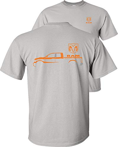 Fair Game Dodge Ram Truck Orange Silhouette T-Shirt-Ice Grey-L (2011 Dodge Ram Laramie Longhorn For Sale)