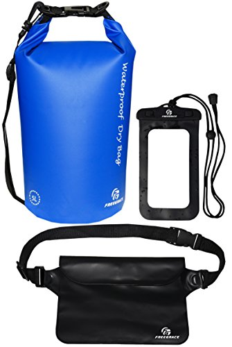 - Freegrace Waterproof Dry Bags Set of 3 Dry Bag with 2 Zip Lock Seals & Detachable Shoulder Strap, Waist Pouch & Phone Case - Can Be Submerged Into Water - for Swimming (Navy Blue, 5L)