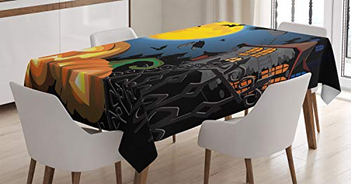 Ambesonne Halloween Tablecloth, Gothic Halloween Haunted House Party Theme Design Trick or Treat Motifs Print, Dining Room Kitchen Rectangular Table Cover, 60 W X 90 L Inches, Orange Black]()
