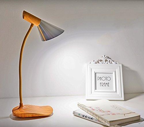 LongYu Desk lamp Nordic modern minimalist wood touch-type spiral desk lamp led reading student study eye lamp bedside bedroom creative energy-saving soft light brightness adjustable (Color : Silver)