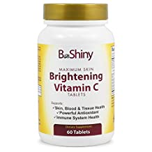 BeShiny Vitamin C 1000mg Maximum Skin Whitening with Rose Hips and Bioflavinoids Immune Support Supplement, Antioxidant tablets Healthy Aging, Builds Energy and Overall Well-being