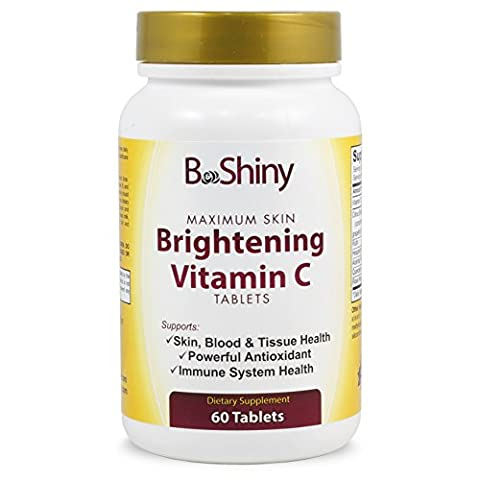 BeShiny Vitamin C Complex 1000mg tablets for Skin whitening Brightening Antioxidant with Rose Hips and Bioflavinoids Immune Support Supplement, Healthy Aging, Builds Energy and Overall Well - Mag 250 Tabs