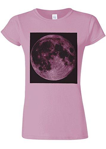 はちみつ空洞明らかFull Moon Picture Funny Novelty Light Pink Women T Shirt Top-L