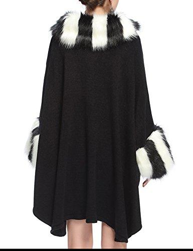 Manteau Mode Faux Fourrure Renard De Noir Aux Luxe Châle Cap Femmes FqZ4UU